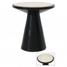 Round Suar Wood Side Table on Pedestal Base
