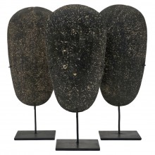 Set of Three Stone Axe Heads on Stands