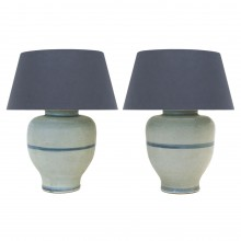 Pair of Light Blue Ceramic Lamps