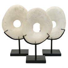 Set of Three White Marble Rings on Stands