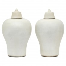 Pair of Stoneware Vases with Lids