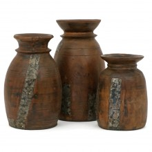 Set of Three Antique Wood Milk pot Vases