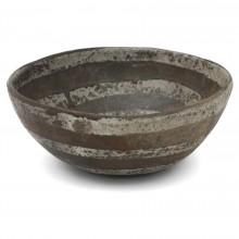 Large Stoneware Studio Bowl with Striped Motif