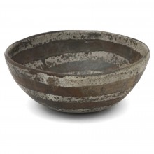 Large Stoneware Studio Bowl with Striped Motif
