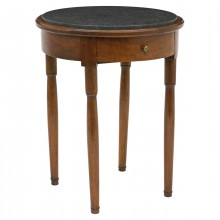 Circular Walnut Table with Belgian Bluestone Top
