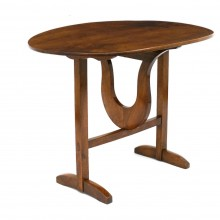 French Oval Walnut Lyre Based Table