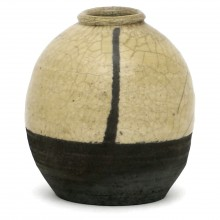 Yellow and Black Drip Glaze Vase