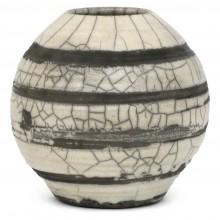 Crackle Glaze Raku Striped Vase
