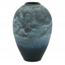 French Blue and Black Studio Vase
