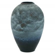 French Blue and Black Studio Vase