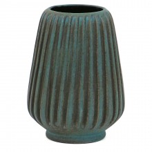 French Blue Ribbed Vase