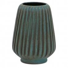 French Blue Ribbed Vase