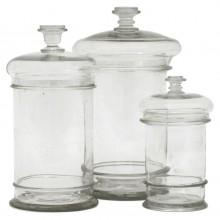Set of Three Glass Cuisine Jars