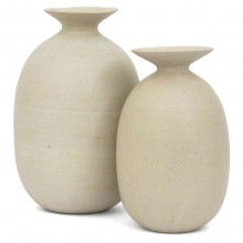 Set of Two Beige Stoneware Vases