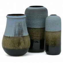 Set of Three Light Blue and Green Vases