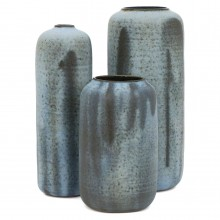 Set of Three Light Blue Vases