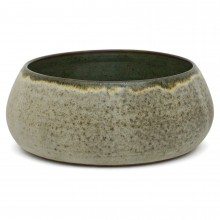 Light Gray/Green Stoneware Bowl