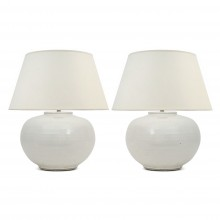 Pair of Round, White Glazed Lamps