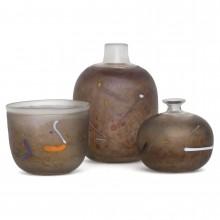 Set of Three Satin Iridescent Art Glass Pieces