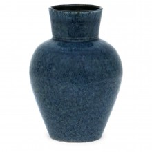 French Blue Textured Vase