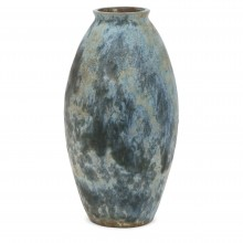 Blue drip glazed tall vase