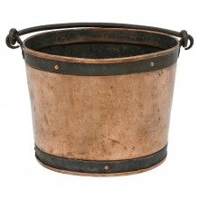 Circular Copper Bucket with Iron Handle