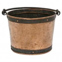 Circular Copper Bucket with Iron Handle