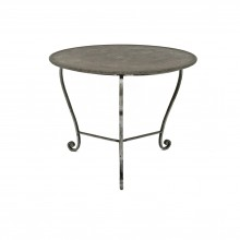 French Steel Table with Marble Top