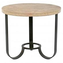 Circular Iron Table with Stone Top