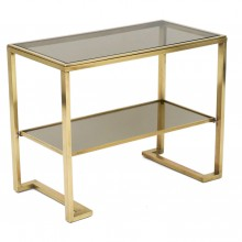 Brass and Glass Two-Tiered Table