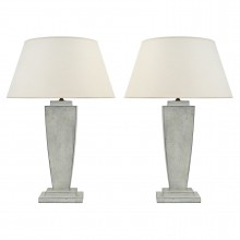 Pair of Painted Column Lamps