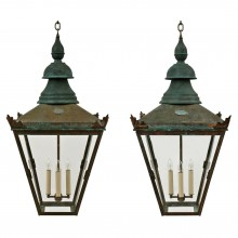 Pair of Patinated Copper Lanterns