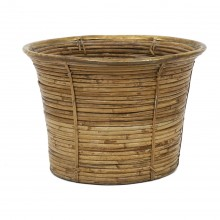 Rattan Basket with Brass Rim