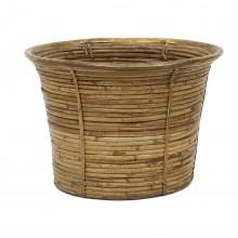 Rattan Basket with Brass Rim
