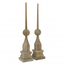 Pair of Tall Wooden Finials