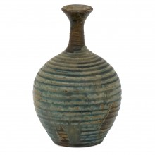 Ribbed Blue, Gray, Brown Stoneware Vase