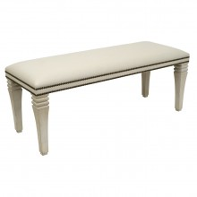 Upholstered Bench with Painted Wood Legs