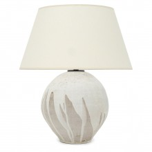Beige and White Stoneware Lamp