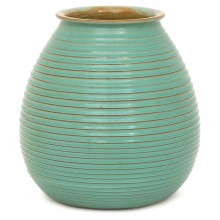 Dutch Turquoise Ribbed Vase