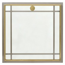 French Steel and Brass Mirror
