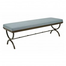 French Iron Bench with Upholstered Seat