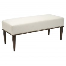 French Oak Bench with Upholstered Seat