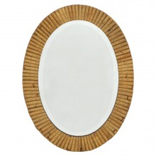 Oval Pieced Bamboo Mirror