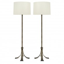 Pair of Textured Iron Standing Lamps
