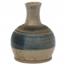 Striped Blue and Beige Stoneware Vase