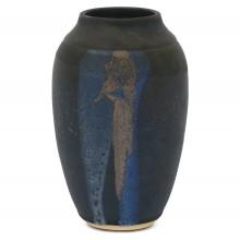 Matte Black Stoneware Vase with Drip Glaze