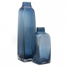 Set of Three Blue Bottle Vases