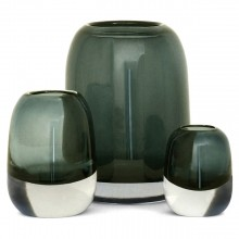 Set of 3 Molded Gray/Green Glass Vases