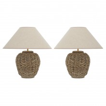 Pair of Sea Grass Covered Table Lamps