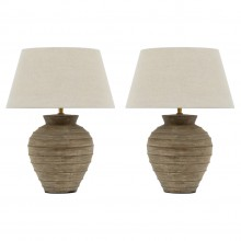 Pair of Ribbed Ceramic Table Lamps